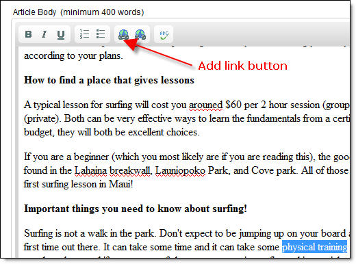 Add a Link Button - Street Articles