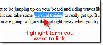 Add Link Highlight Term - Street Articles