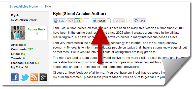 Social Buttons on Author Profile
